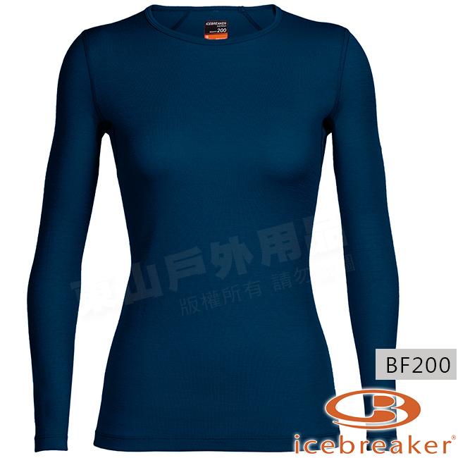 Icebreaker 100514-412靛藍女羊毛圓領保暖衣Oasis美麗諾控溫長袖休閒上衣排汗快乾機能服