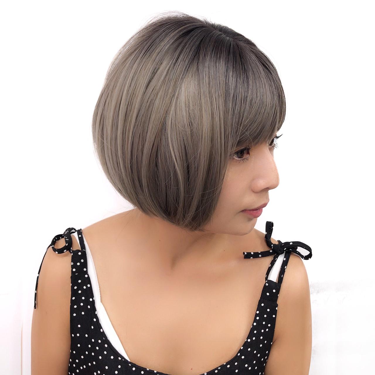 韓系全頂假髮 短髮亞麻灰 頭頂布丁 魔髮樂 D3062