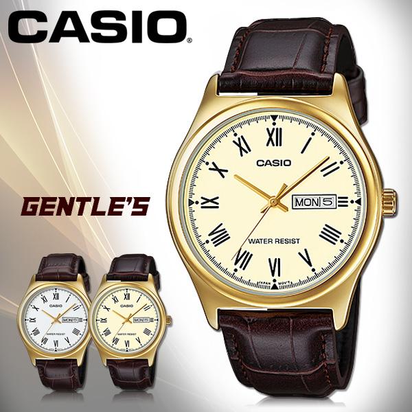 CASIO手錶專賣店國隆CASIO手錶MTP-V006GL-9B男錶指針錶皮革錶帶日期數字