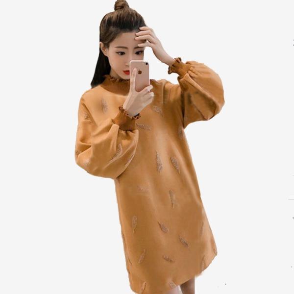 厚毛呢羅紋立領羽毛刺繡寬鬆長袖洋裝 (棕色  軍綠色)11852049