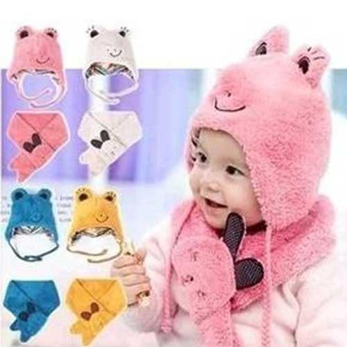 Qmishop韓版青蛙造型寶寶保暖帽子圍巾二件套QB108