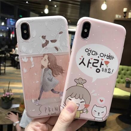 SZ35 iPhone X手機殼貓咪女孩浮雕粉色系iPhone7 8 plus手機殼iPhone6s手機殼
