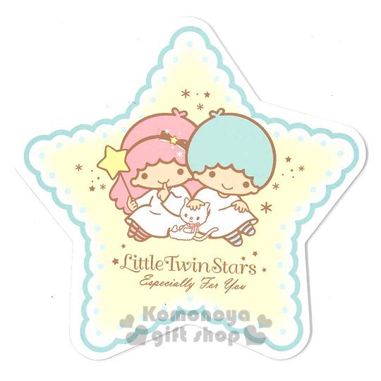 〔小禮堂〕雙子星 造型硬式萬用卡片《黃.藍邊.星星.坐姿》附信封 4714581-22531