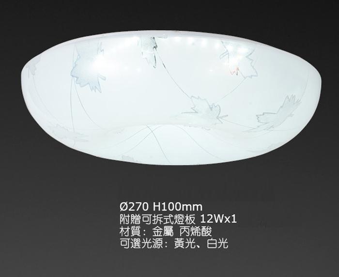 燈王的店最新可換式晶片LED吸頂燈浴室.陽台.走道.玄關附LED12Wx1白光黃光0331-12W