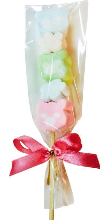 娃娃屋樂園~5入祝福棉花糖小熊.花朵串燒每支9元婚禮小物送客禮喜糖糖果生日禮物