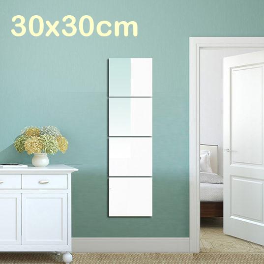 穿衣鏡無框鏡子4片組DIY全身鏡鏡貼牆壁掛鏡壁貼鏡30x30 YV7603快樂生活網