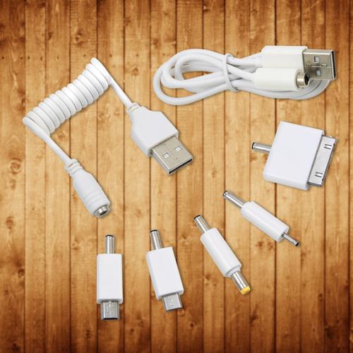 (免運 )行動電源 USB轉接線*1 轉接頭*5顆(白色) 有MICRO USB& IPHONE4