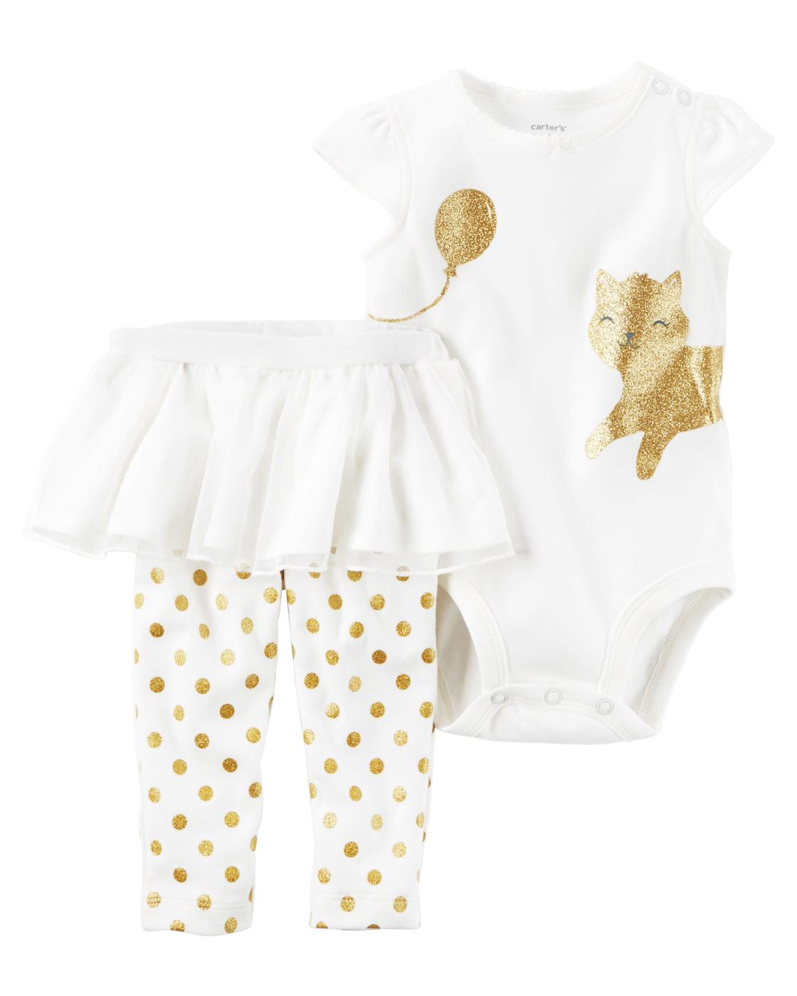 【美國Carter's】短袖套裝2件組 - 金色貓咪包屁衣 點點長褲 121H275