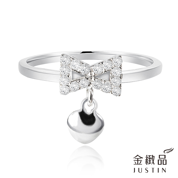 Justin金緻品 心繫於你 鑽石戒指 天然真鑽 愛心 蝴蝶結 18K金 非鍍金
