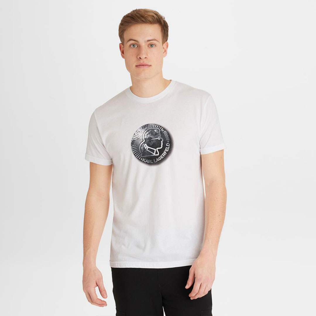Karl Lagerfeld 卡爾 老佛爺 經典剪影LOGO T恤-白