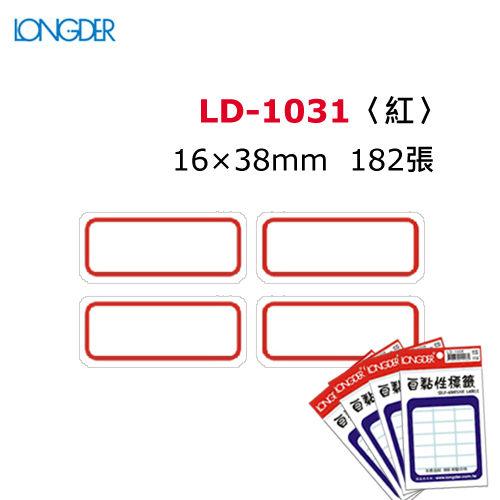 【西瓜籽】龍德 自黏性標籤 LD-1031(白色紅框) 16×38mm(182張/包)