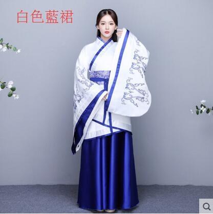 熊孩子漢服女2017新款改良古裝襦裙主圖款2白色藍裙