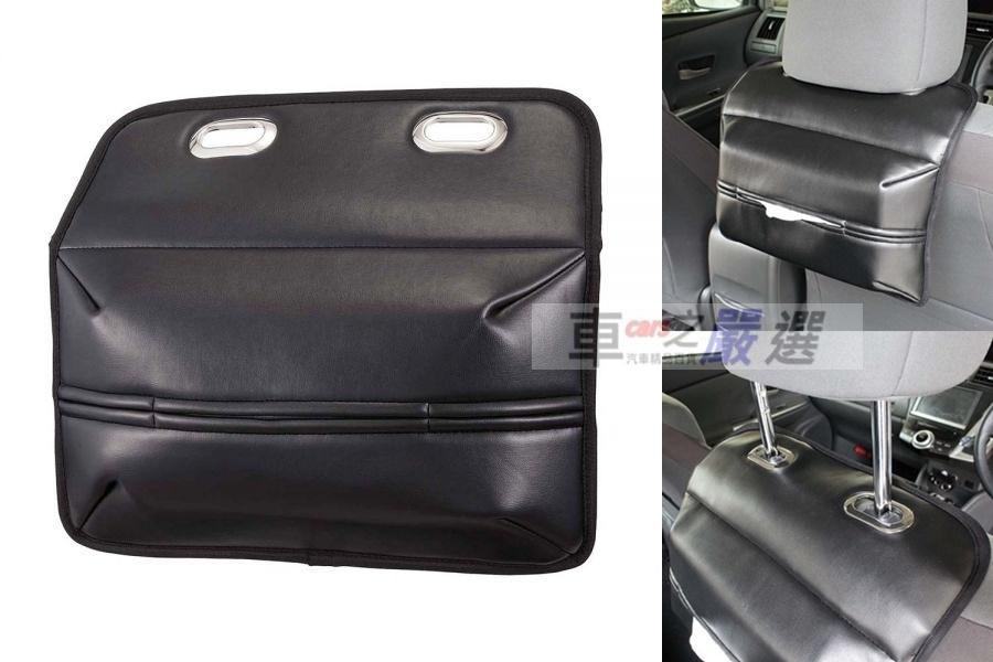 車之嚴選cars go汽車用品JK-96日本NAPOLEX座椅頭枕杆固定式後座專用皮革面紙盒套頭枕專用