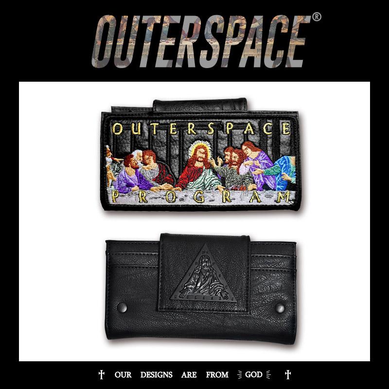 OUTER SPACE 最後的晚餐刺繡長皮夾