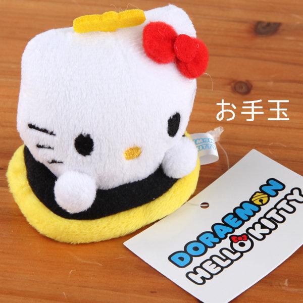 Hamee 日本 哆啦a夢 凱蒂貓 聯名款 掌上型 絨毛玩偶 娃娃 (Hello Kitty圈圈) 457-401450