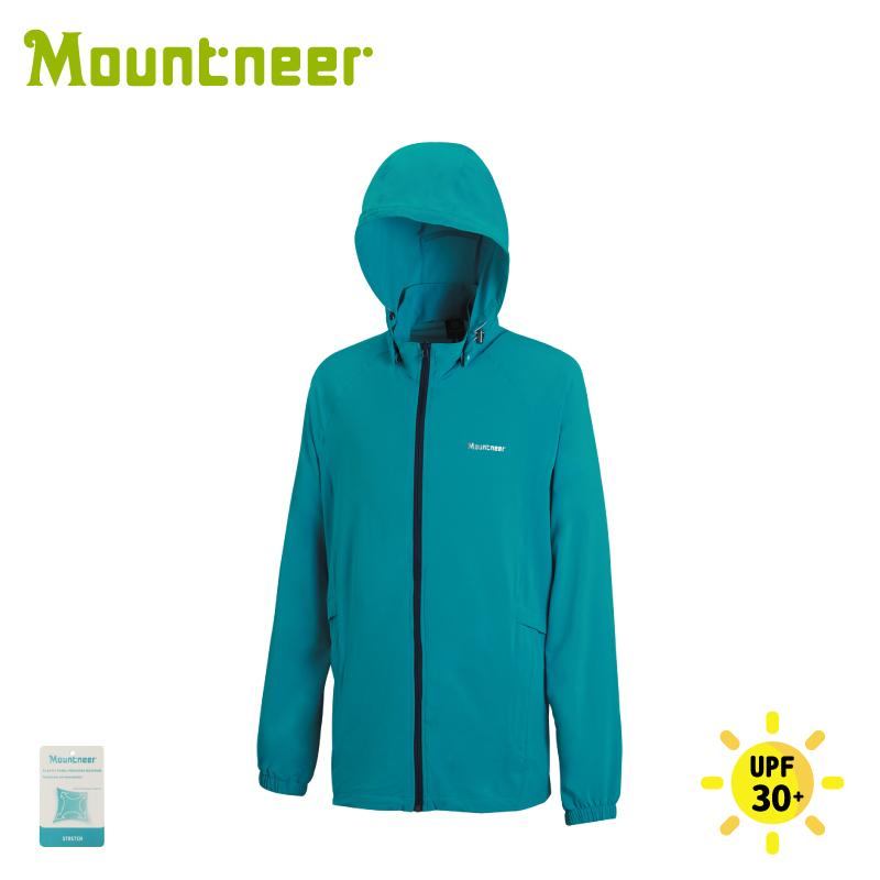 【Mountneer 山林 男 彈性抗UV休閒外套《藍綠》】21J21/休閒外套/防曬外套/排汗外套/薄外套