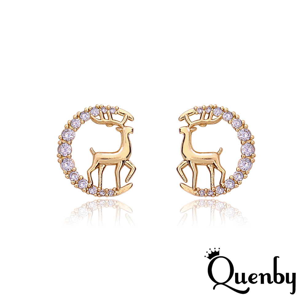 Quenby 925純銀 帶鑽聖誕小鹿設計感簡約貼耳環/耳針