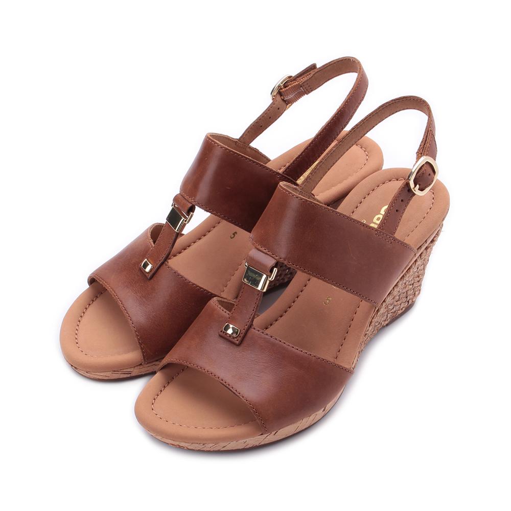 德國 GABOR 皮帶編織跟楔型涼鞋 棕 22.827.54 女鞋