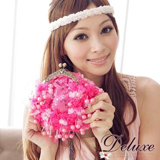 ☆Deluxe☆芭比甜心~蕾絲 亮片珍珠串珠手拿/斜背兩用包★粉桃