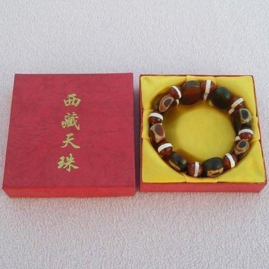 【歡喜心珠寶】【老礦至純西藏天珠長方板手鍊】共8板.天然玉髓老礦至純西藏天珠「附保証書」