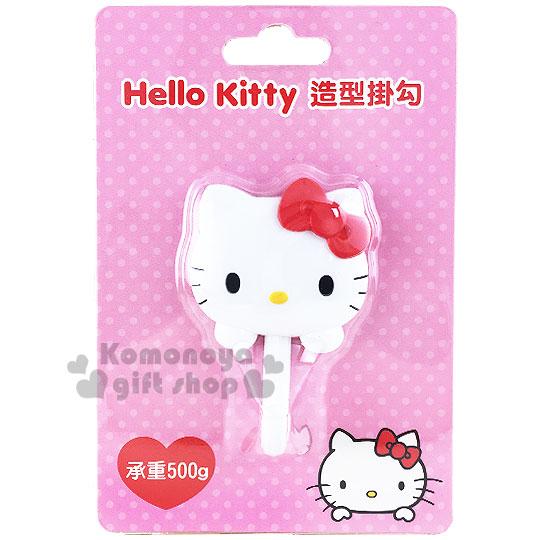 〔小禮堂〕Hello Kitty 貼式造型掛勾《紅蝴蝶結.大臉.泡殼》耐重500g 8021057-10002