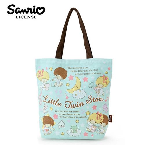 粉綠款日本進口雙子星KIKILALA帆布肩背包托特包手提袋肩揹提袋三麗鷗Sanrio 439101