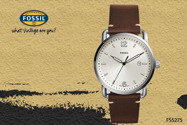 【時間道】[FOSSIL。錶]簡約素雅大錶徑三點日期腕錶/白面咖啡皮(FS5275)免運費