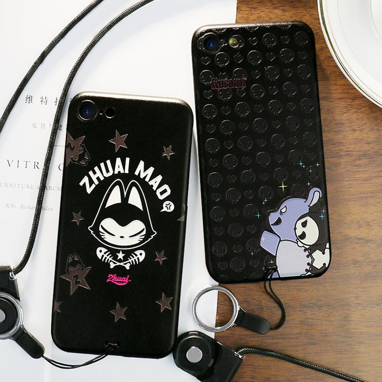 iphone 6 plus手機殼iphone 6s手機套iphone 6手機保護殼蘋果6S Plus浮雕卡通可愛送掛繩潮男女款防摔