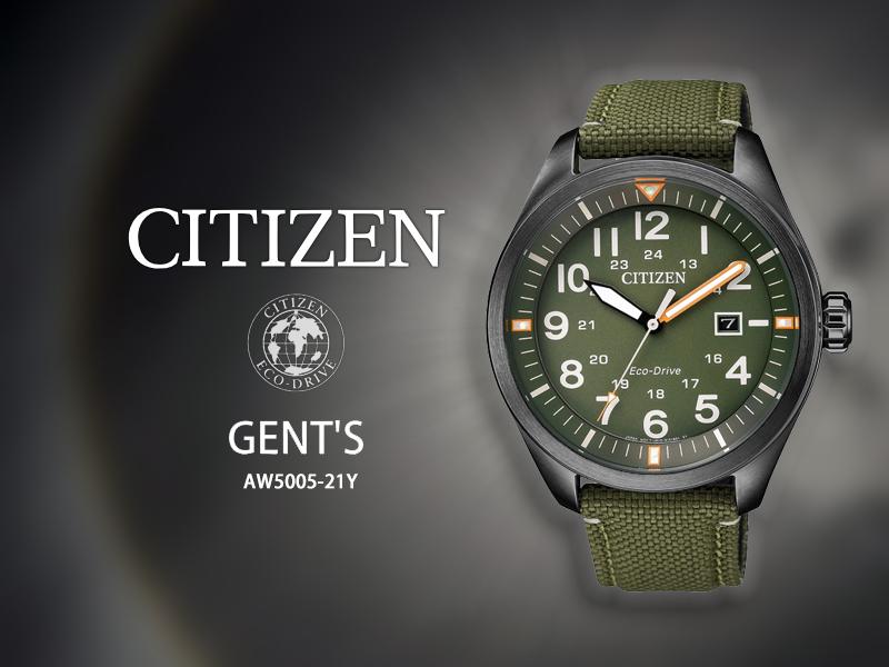 時間道CITIZEN星辰GEN'T軍用風光能腕錶軍綠面帆布帶AW5005-21Y免運費