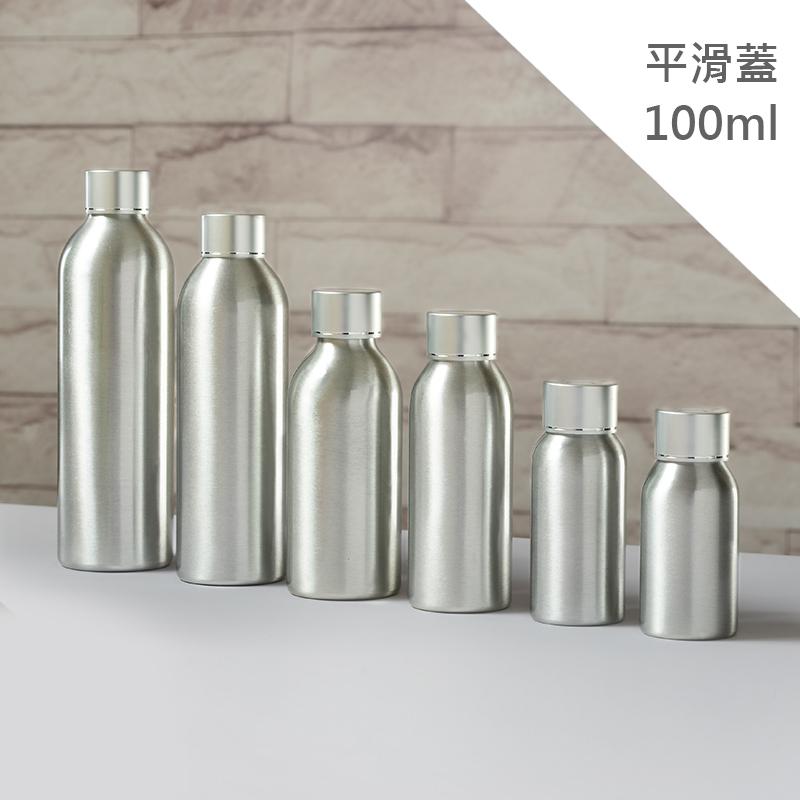 藝瓶瓶瓶罐罐空瓶空罐化妝保養品分類瓶銀色平滑旋轉蓋鋁製分裝瓶子-平滑蓋-100ml