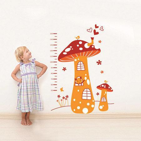 高品質DIY無痕牆貼身高尺壁貼兒童壁貼兒童房設計蘑菇屋YV2102快樂生活網