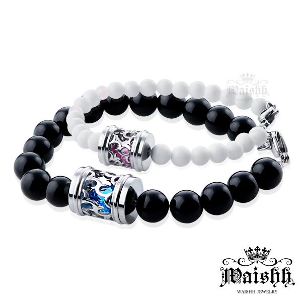 Waishh玩飾不恭深情印記幸運誕生石瑪瑙手鍊珠寶白鋼情侶手鍊附贈一顆誕生石單鍊價
