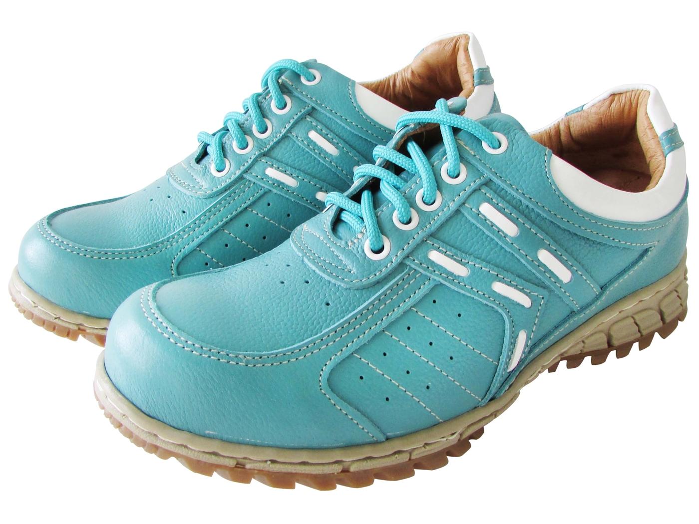 雙惠鞋櫃路豹Zobr俏麗素面款女牛皮休閒鞋台灣製造T769d水藍白