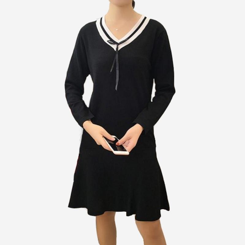 細羅紋針織V領蝴蝶結洋裝 (紅白條  黑白條  黑)三色售