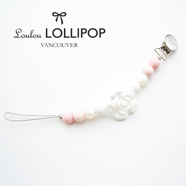 加拿大Loulou lollipop山茶花串珠奶嘴鍊固齒器嬰兒粉~麗兒采家