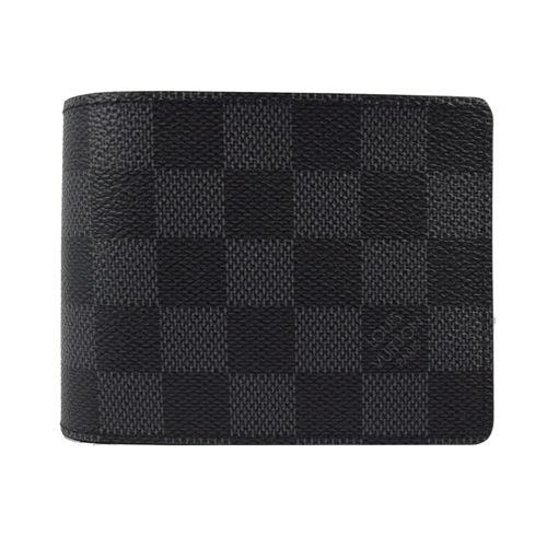 茱麗葉精品全新精品Louis Vuitton LV N63261黑棋盤格紋多卡雙折短夾預購