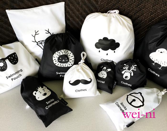 wei-ni 手繪插圖束口袋(6件組) 旅行收納六件套 旅行收納袋 萬用收納包 旅行包 貼身衣物保護袋