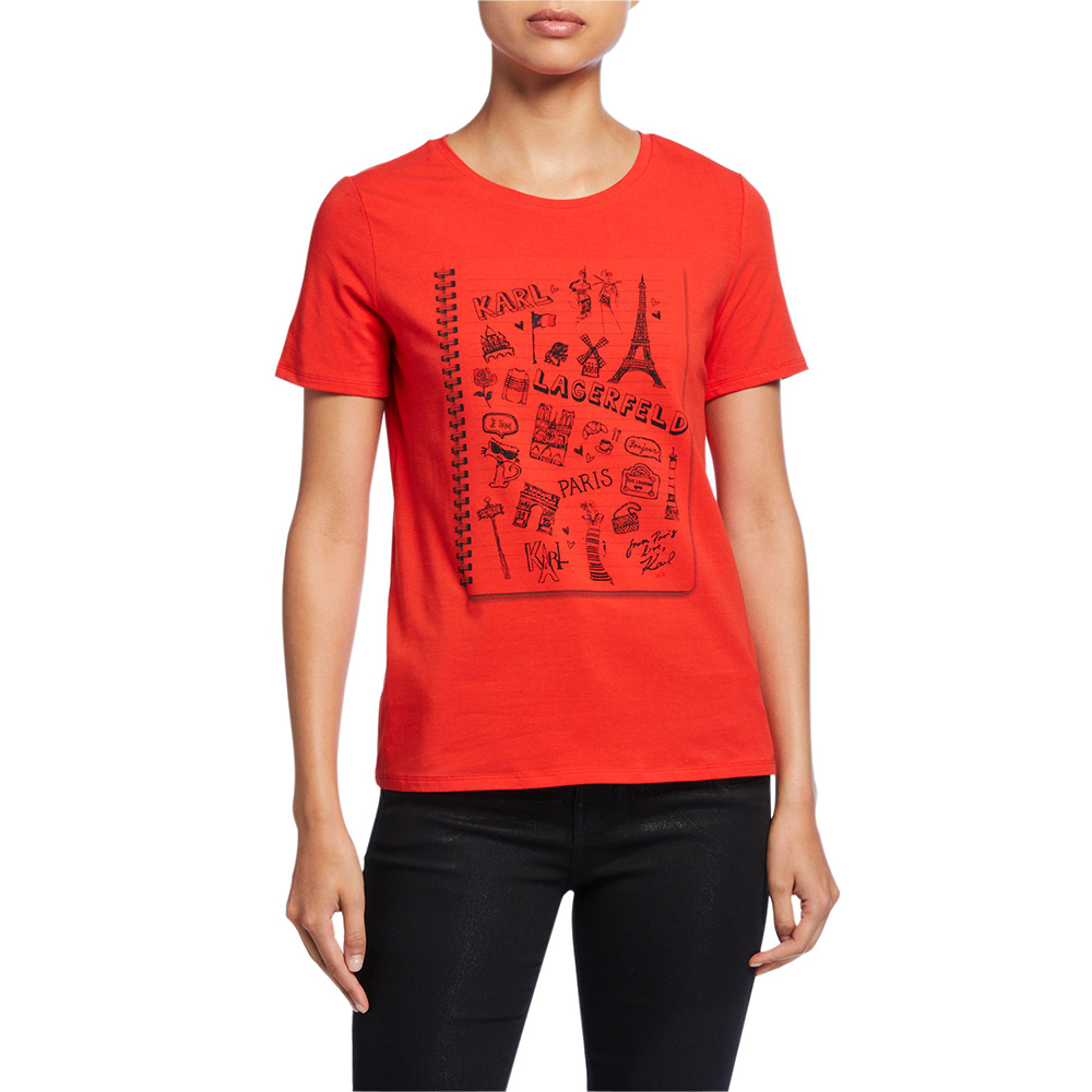 Karl Lagerfeld 卡爾 老佛爺 素描插畫筆記本-紅