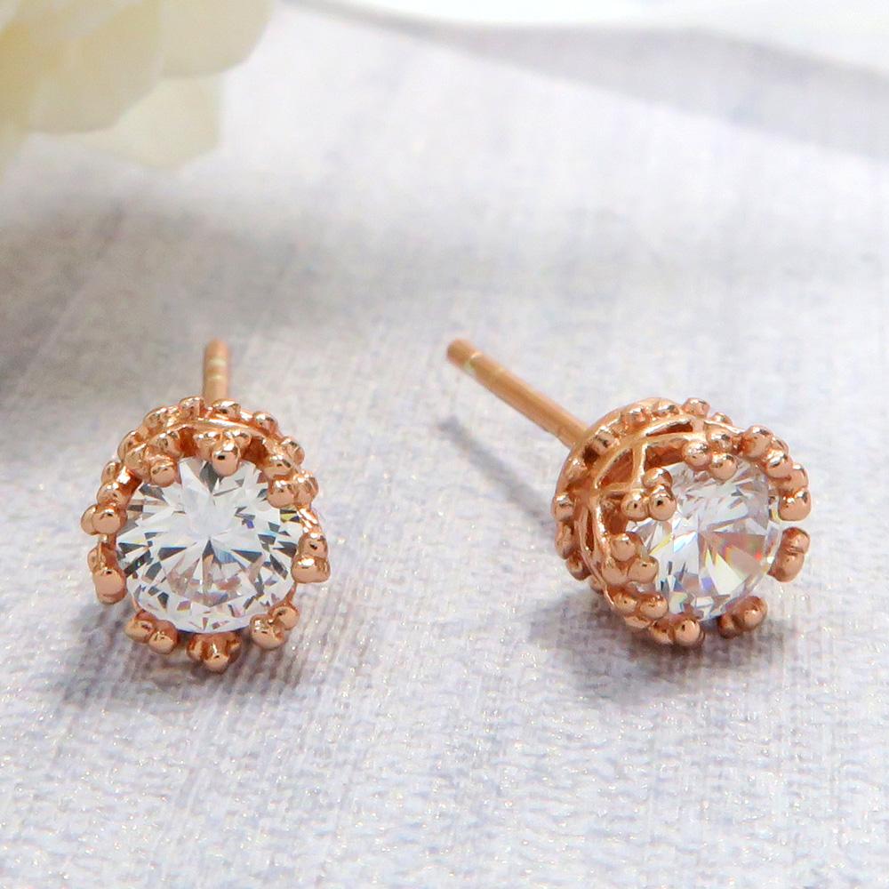耳環 優雅翠冠-玫金  925純銀耳環