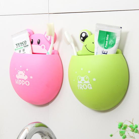 米菈生活館L187卡通吸盤洗漱收納架牙刷牙膏強力黏貼置物浴室裝飾磁磚吸附兒童