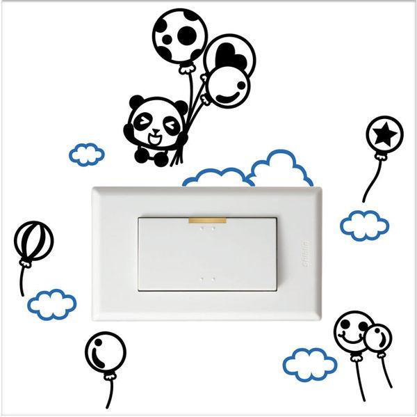 開關小壁貼熊貓汽球壁貼防水貼紙汽機車貼紙7cm x 10.1cm