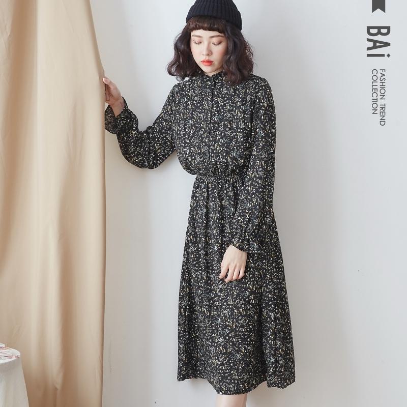 長洋裝 滿版碎花荷葉立領雪紡連身裙-BAi白媽媽【191110】