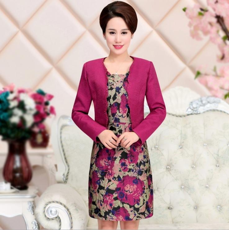 中大尺碼媽媽禮服緹花連身裙兩件套裝洋裝M-4XL rs8254卡樂store
