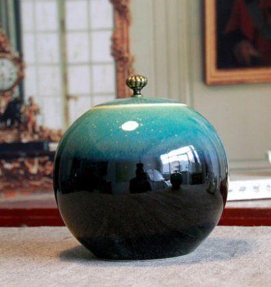 窯變陶瓷茶葉罐陶瓷小號綠色
