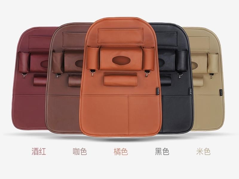 皮革掛袋車座椅背雜物掛袋椅後置物袋衛生紙面紙袋平板飲料摺疊雨傘手機袋