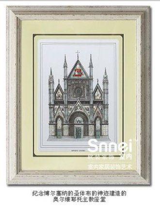 著名教堂建築有框牆壁掛畫