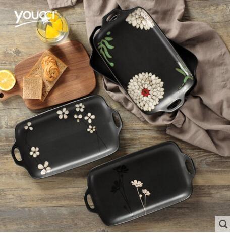 京東生活小物日式手繪雙耳長方形盤圓盤雙耳盤魚盤水果盤陶瓷餐具