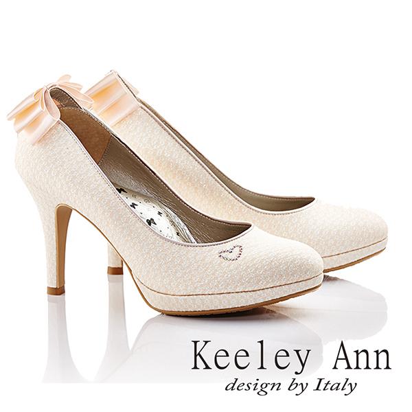 ★2015春夏★Keeley Ann名媛優雅~名品蝴蝶結心形造型高跟鞋(粉金)
