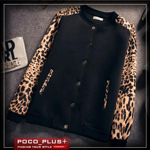 PoCo韓式風格韓系外套簡約時尚款韓系豹紋外套韓版棉質棒球衣外套羅志祥都下標C221