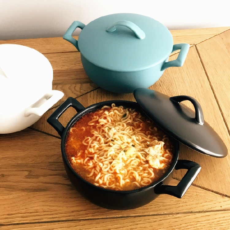 超豐國際日式磨砂雙耳碗泡面碗帶蓋陶瓷湯碗拉面碗大容量沙拉